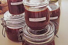 Oma's Pflaumenmus für 1kg Pflaumen Chutneys, Healthy Eating Tips, Healthy Nutrition, Plum Recipes, Kiss The Cook, Vegetable Drinks, Kitchen Gifts, Marmalade, Homemade Gifts
