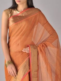 Bronze Orange Maheshwari Silk Cotton Saree - Meera Mehta