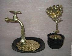 Персональные подарки ручной работы. Ярмарка Мастеров - ручная работа. Купить Цветок из монеток - символ благополучия. Handmade. Цветок, монеты