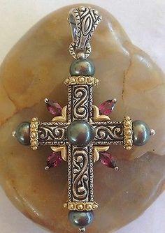 Barbara Bixby Rhodolite Garnet Cross Enhancer Pendant Sterling 18K