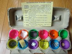 12 days until Easter: The Meaning of Easter explained through a dozen plastic eggs.