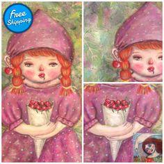 Sweet Cherries - original acrylic painting naive painting girl room art wall #WallArt #cecillecreations #StretchedCanvas #art #LittleGirl #ArtForChildren #NurseryArt #NaivePainting #LittleRedDress #AcrylicPainting Girls Room Paint, Girl Room, Little Red Dress, Sweet Cherries, Naive Art, Room Art, Nursery Art, Childhood Memories, Art For Kids