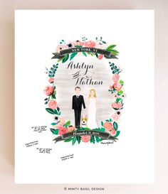 Custom Couple Illustration Poster by Minty Basil Design on Etsy | 5 Awesome Wedding Guest Book Alternatives