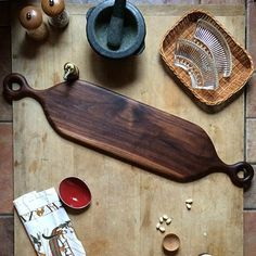 Maine Maker Alex Beaudet Wooden Cutting Board with Handle - Double Handled Black Walnut