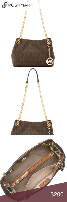 1f25298bbd392c MK Michael Kors Jet Set Chain Bag Medium Brown New without tag!! This chic
