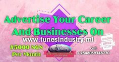 Are you an artist Base In Nigeria? Do you want the world to notice your Business? Advertise yourself now on www.tunesindustry.ml for #5000 naira only per monthLet Your Face or Business Show Round The World So Call EmpeeTunes Now 2348039348770 or WhatsApp Or Email: skytunesmedia@hotmail.com to Promote yourself or Business. http://ift.tt/2xdHEDN