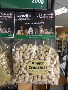 Puppy Crunchies. Vondi's range of puppy crunchies is ideal for diet sensitive animals as it contains no nasty preservatives, oils or bad starches.
