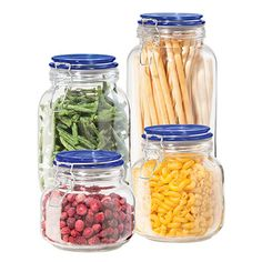 Store your kitchen ingredients with this glass canister set. The set includes four airtight, sealed canisters in varying sizes. Features: clear glass allows you to easily identify the contents and monitor the quality of your supply, clamp lids with silico Food Canisters, Storage Canisters, Glass Canisters, Jar Storage, Glass Jars, Kitchen Storage, Clear Glass, Round Glass, Spice Storage