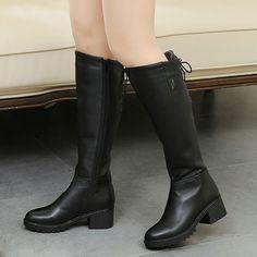 Shoespie Warm Black Block Heel Knee High Buckle Boots