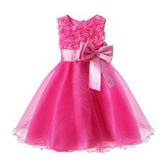 e731bf41254 Girls 3D Flower Formal Wedding Bridesmaid Party Christening Dress Princess  Dresses (6-7 Years
