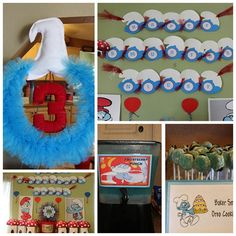 lots of smurf party ideas, garland, wreath, smurf coldrinks