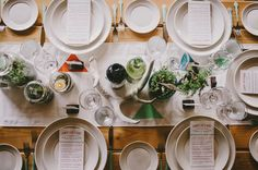 simple tablescape of modern plates + antlers