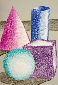 Claire440's art on Artsonia: students shade shapes one by one and put them into pleasing compositions