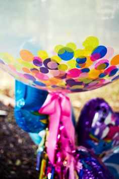 Confetti filled balloons at a My Little Pony Rainbow girl Birthday Party!  See more party ideas at CatchMyParty.com!