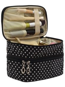 e78c02f3f1 Black Polka Dot Double Layers Cosmetic Bag Polka Dot Bags