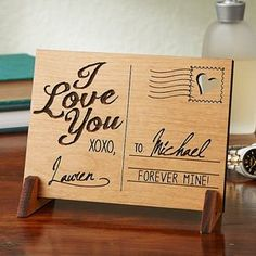 LOVE this Engraved Wood Postcard! It's the perfect unique Valentine's Day Gift idea - especially for people in long distance relationships! You can personalize it with any message!