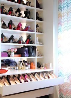 Shoe shelves and drawers