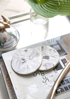 Gold Rimmed Faux Marble Coasters | House of Earnest