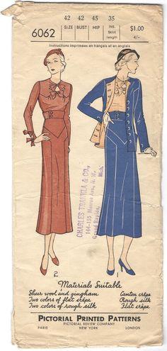 Pictorial Pattern 6062 by Augusta Bernard | 1930s jacket skirt & blouse