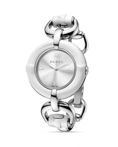e8ae8072d21 Gucci Bamboo Collection White Bamboo Bangle Watch with Silver Sun-Brushed  Dial