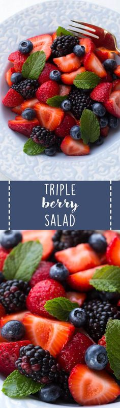 Triple Berry Salad is made with strawberries, blueberries, blackberries and a simple honey-mint lemon glaze! Six ingredients create a simple, fresh and flavorful snack or side dish. #fruit #salad #healthy #recipe