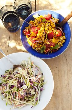 Charred Corn Salad w/tomatoes and basil! Not that I think people will give up their corn on the cob, but...mmmmm.