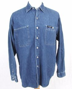 Ralph Lauren Polo Jeans Denim Shirt Large Cotton Blue VTG Metal Button Front  #PoloJeansCo #ButtonFront