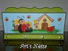 Art's Nêssa - Artesanato: Porta cartas/chaves joaninha (verde)