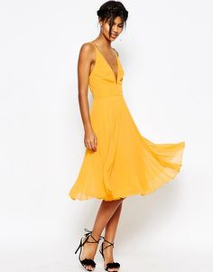 Image 1 ofASOS Deep Plunge Pleated Cami Midi Dress