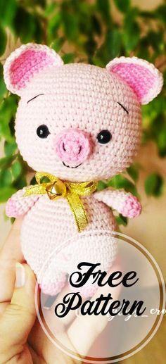 Cute Free Pig Amigurumi Crochet Pattern for kids! - amigurumi patterns free, amigurumi doll, amigurumi crochet patterns, amigurumi patterns free, amigurumi for beginners Crochet Pig, Crochet Amigurumi Free Patterns, Crochet Animals, Crochet Dolls, Free Crochet, Easy Knitting Projects, Crochet Projects, Crochet Unique, Cute Pigs