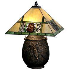 "Meyda Tiffany Lodge Tiffany Pinecone Ridge 19.5"" H Table Lamp with Square Shade"