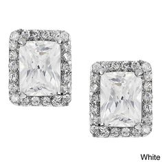 Journee Collection Silver-tone Cubic Zirconia Rectangle Stud Earrings, Women's