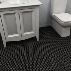 Merola Tile Metro Hexagon Matte Black 10-1/4 in. x 11-3/4 in. x 5 mm Porcelain Mosaic Tile (8.54 sq. ft. / case) - FDXMHMB - The Home Depot   downstairs bathroom