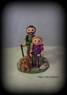 Wedding Cake Topper, Custom Wedding Topper, Hiking Theme, Hikers, Bride and Groom, One Pet, Personalized, Polymer Clay, Keepsake