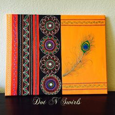 Original handpainted Wall Art with Peacock Feather by dotnswirls