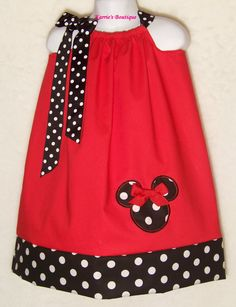Minnie Mouse Pillowcase Dress / Disney / Mickey / Girly / Girl/ Infant/ Baby / Custom Boutique Clothing / Red / Black / Dots on Etsy, $29.95