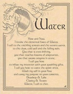 Elegantly worded by spiritual wordsmith Travis Bowman and vividly illustrated by Eliot Alexander, this parchment poster reference provides you with a wonderful invocation for the element of water. 8 1