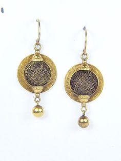 UNUSUAL ANTIQUE VICTORIAN ENGLISH 9K GOLD WOVEN HAIR MOURNING EARRINGS c1870  | eBay