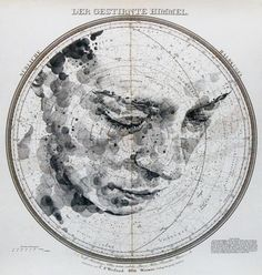 Mapped Face // Ed Fairburn on Graphic Mixed Media. Ed Fairburn has recently produced new works that live in a magical place between sculpture and drawings. Ed Fairburn, Celestial Map, Art Carte, Star Chart, Vintage Maps, Portraits, Map Art, Art Plastique, Graphic Art