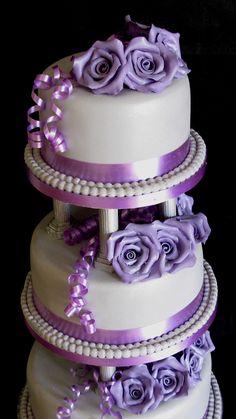 Three Tier Wedding Cake: Roses