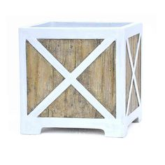 White On Wood Composite Planter, Brown