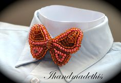 Items similar to Orange beaded butterfly bow tie, beads embroidery brooch, orange seed beads, glass beads, orange glass crystals on Etsy Bubble Envelopes, Blue Butterfly, Blue Beads, Beaded Embroidery, Seed Beads, Glass Beads, Handmade Jewelry, Brooch, Bows