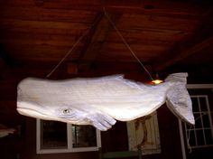 """Two Sided Sperm Whale 35"""" chainsaw wood carving fish MOBILE"""