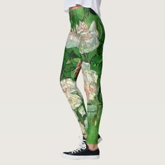 Van Gogh Pink Roses Vintage Garden Fine Art Leggings - spring gifts beautiful diy spring time new year