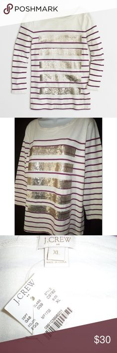 """NEW J. Crew Sequin Stripe Tee Shirt Top XL cute tee shirt from J. Crew Factory  100% cotton, washable  ivory with purple stripes and sequin details  bracelet length sleeves Condition: new with tag  Size: XL  Measurements:  Bust 42""""  Waist 41""""  Length 25""""  Sleeves 20.5"""" J. Crew Tops Tees - Long Sleeve"""