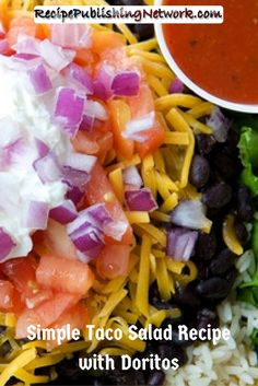 Taco salad can be served in a shell or in a bowl. This one is prepared with Doritos®, which add a crunchy flavored texture to the salad that's better than croutons.