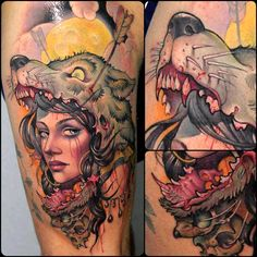 Women with Wolf hat tattoo. This is amazing. Eveything about this is perfect. By: Victor Chil.