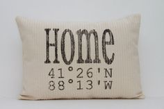 "personalized pillow, longitude and latitude pillow, map pillow, housewarming gift, wedding gift ""The Home"""