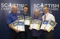 Gavin Colquhoun (centre left) and Brian Stewart from Elderslie Butchers receive their awards from Tom Lawn of Scobies Direct and Archie Hall from DalzielPicture by Graeme Hart Butcher Shop, Archie, Lawn, Centre, Awards, Crafts, Manualidades, Meat Store, Handmade Crafts