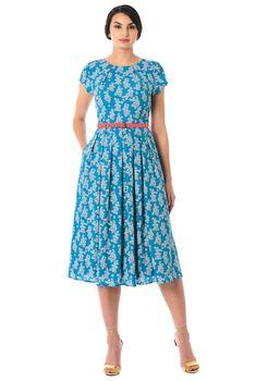 bbcce41348f Pleat neck belted floral print crepe dress